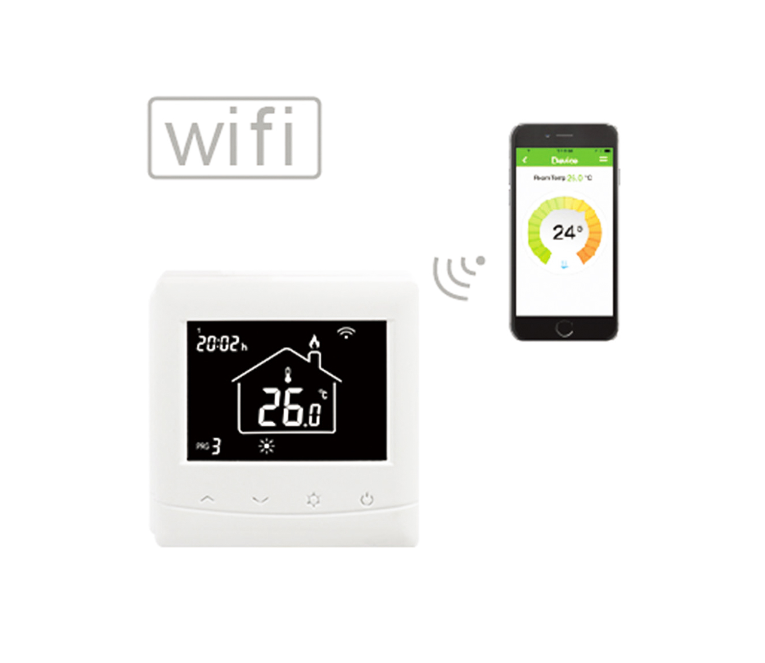 HT-08W Wifi Thermostat, Central Heating Controls, WiFi Thermostat
