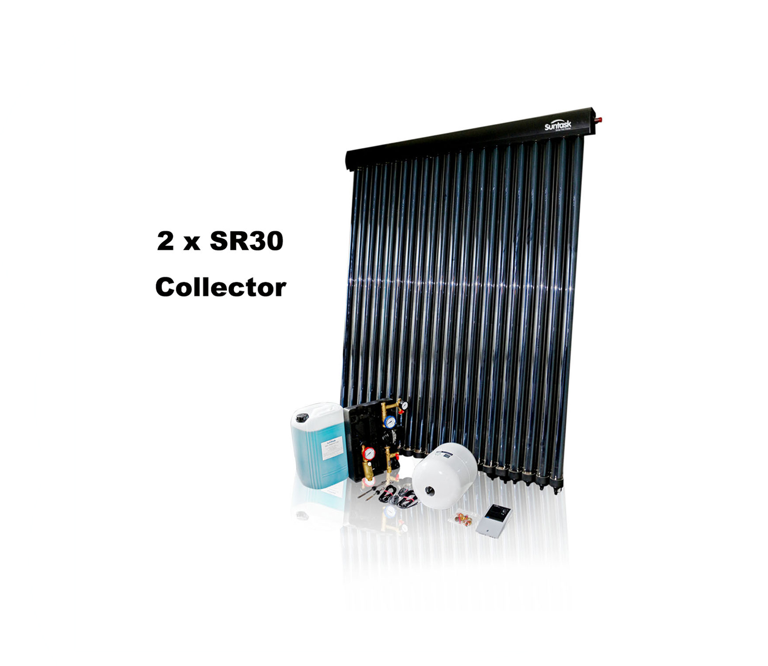 Suntask full Solar Thermal Kits excluding Cylinders 60 Tube System (2 x SR30 Collector)