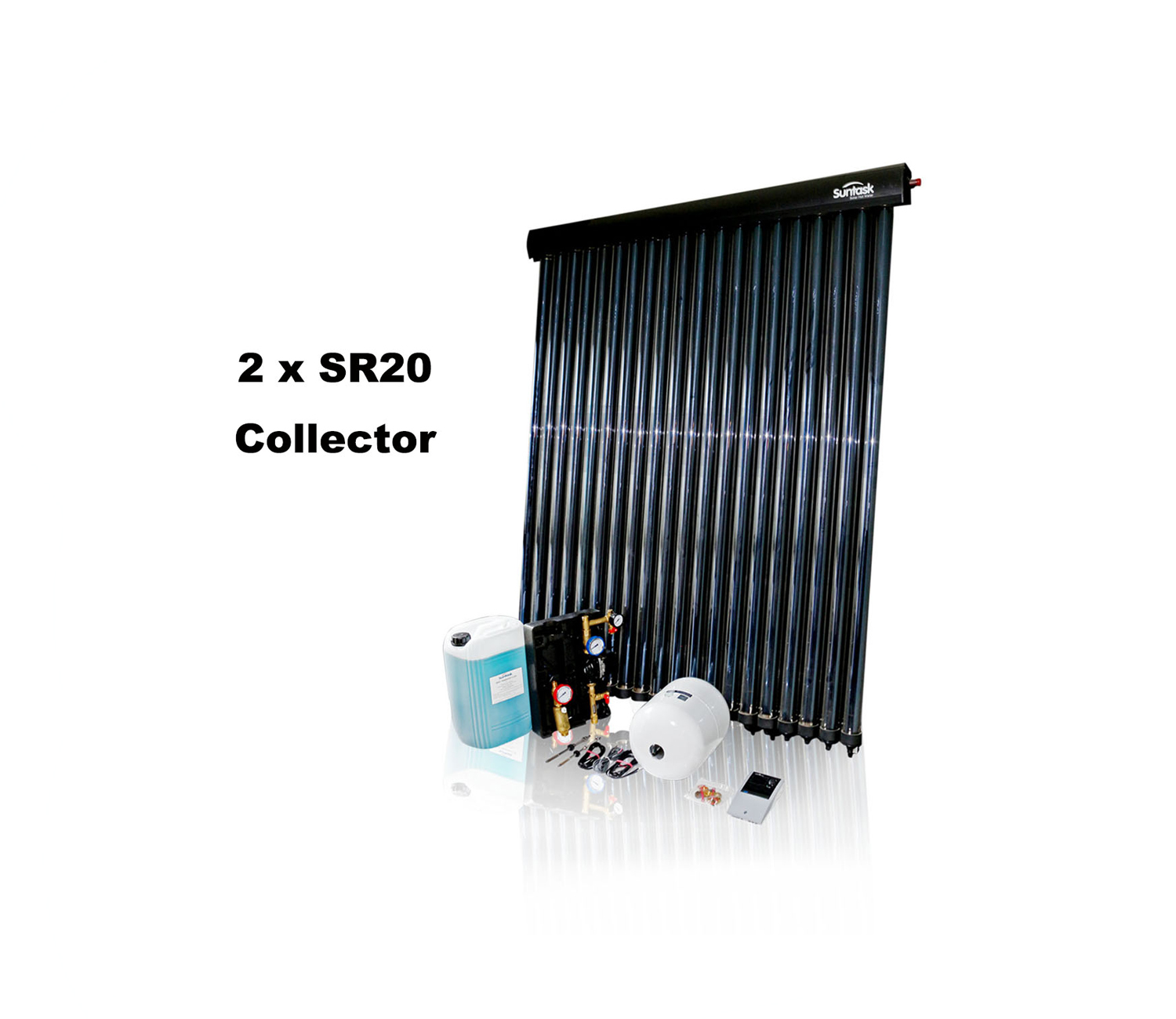 Suntask full Solar Thermal Kits excluding Cylinders 40 Tube System (2 x SR20 Collector)