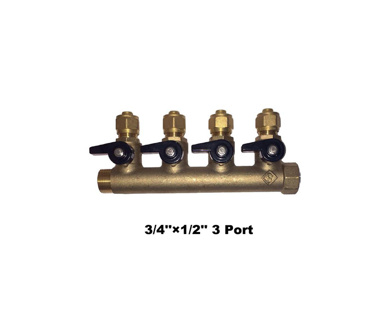"Brass Manifolds with ISO Valves (With Adaptors) 3/4""×1/2"" 3 Port Manifold+ISO (771894K)"