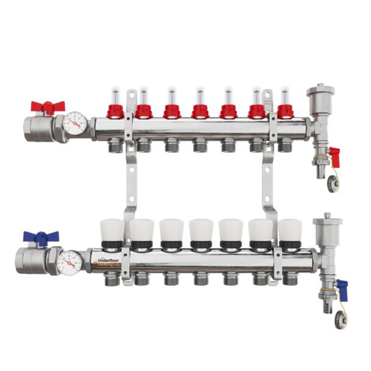 7 Port Brass Manifold With Pressure gauge and auto air vent