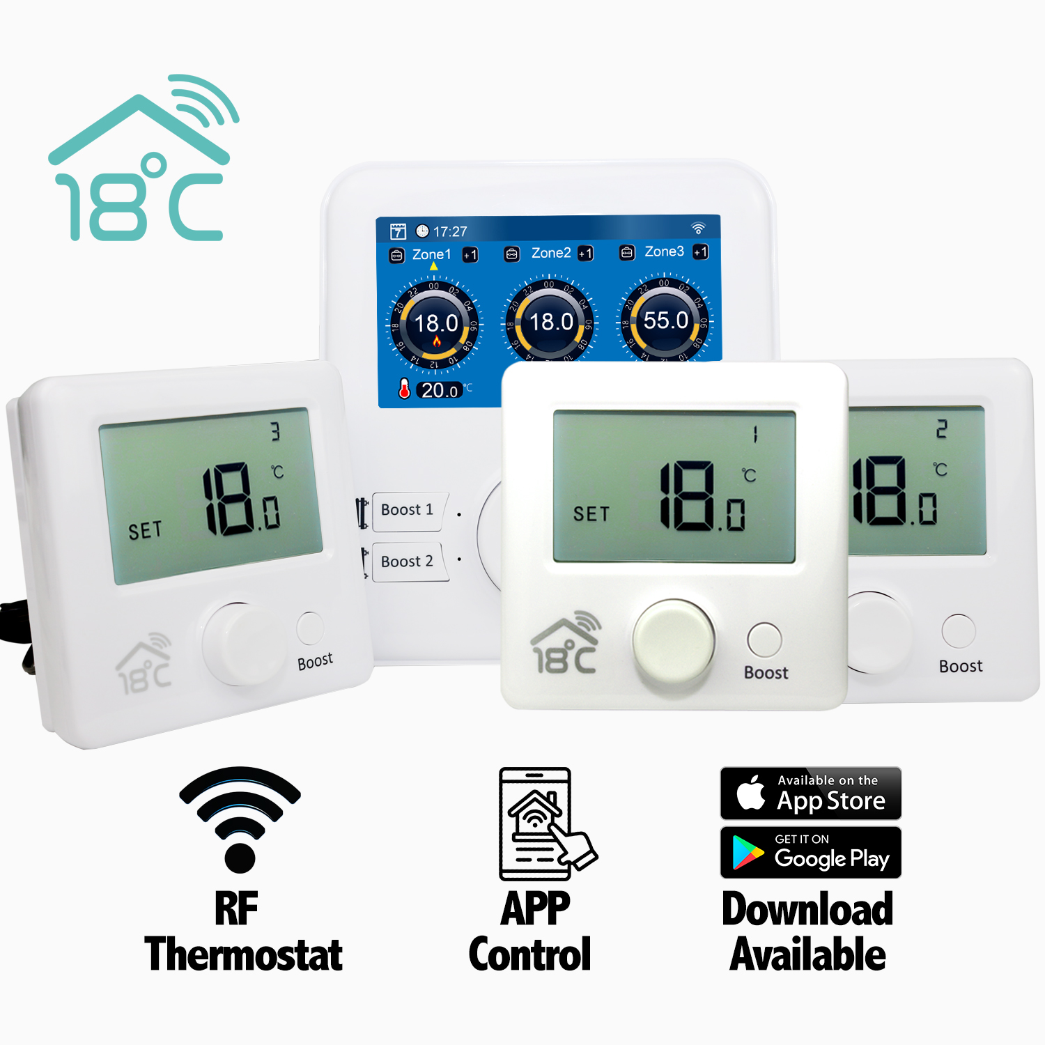 18 degrees Remote Heating thermostatic Controller 3 zone