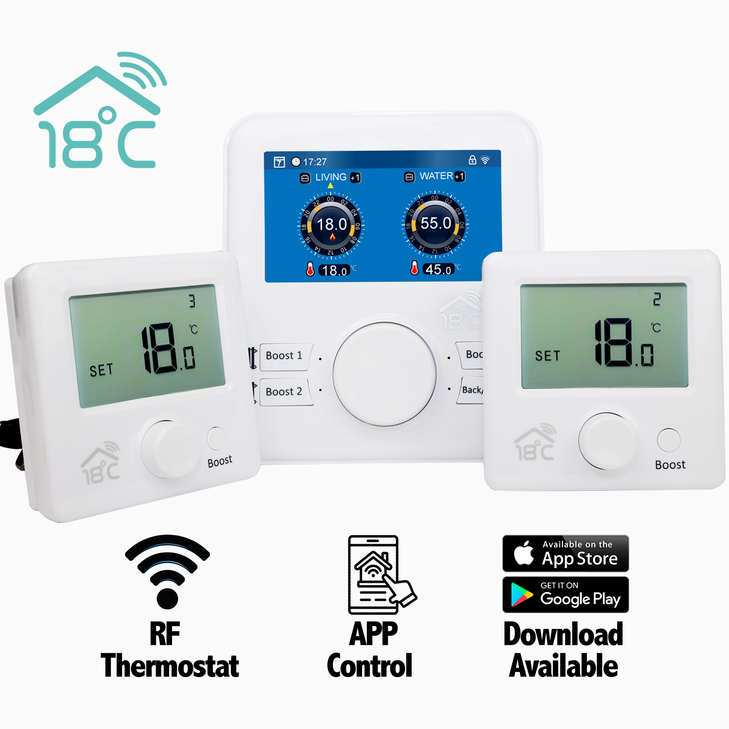 18 degrees Remote Heating thermostatic Controller 2 zone