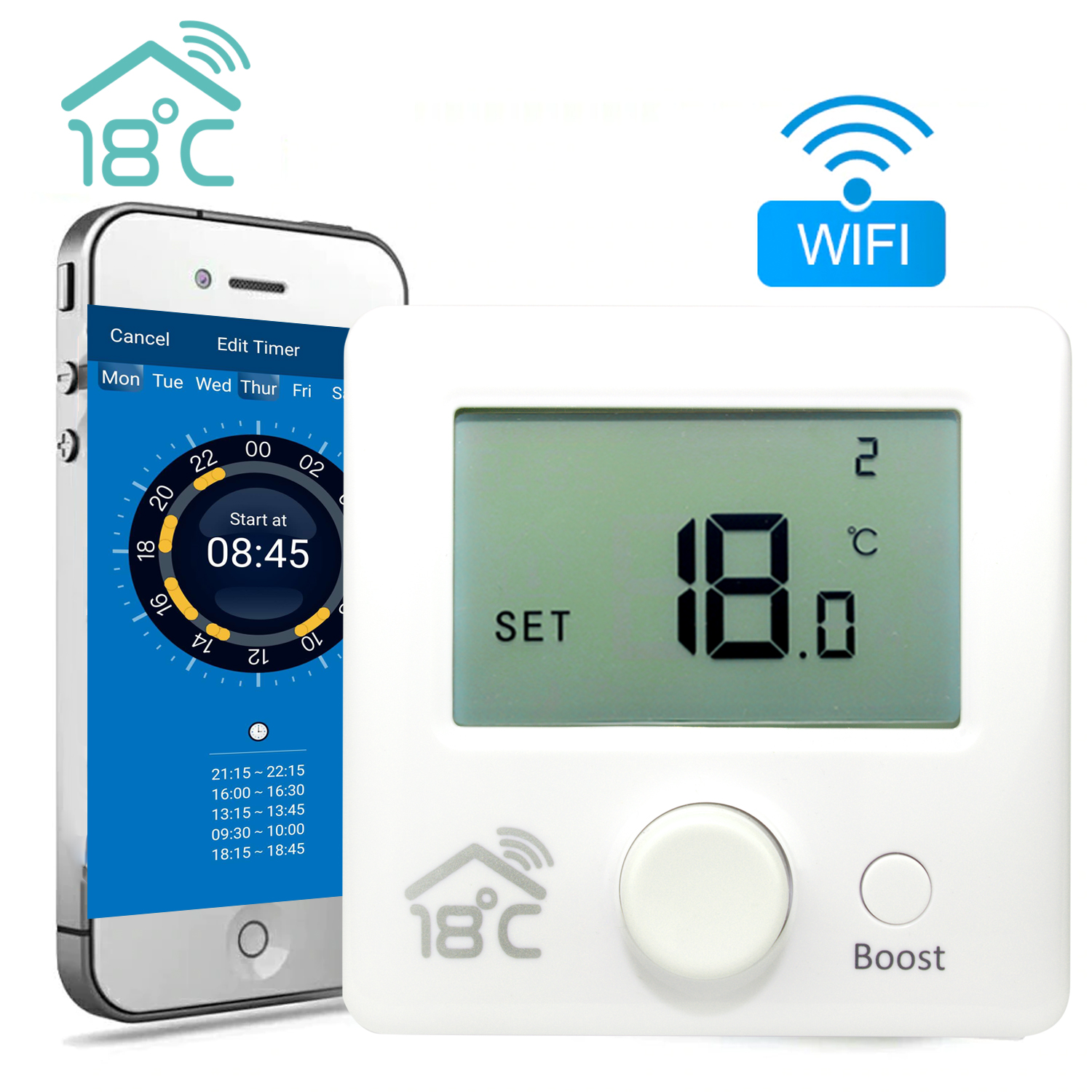 18 degrees Remote Heating thermostat (Wifi)