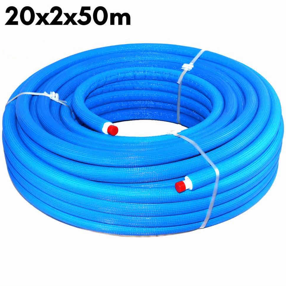 Multilayer Insulated Pipe PEX-AL-PEX Insulation Blue 20 x 2.0 × 50 m