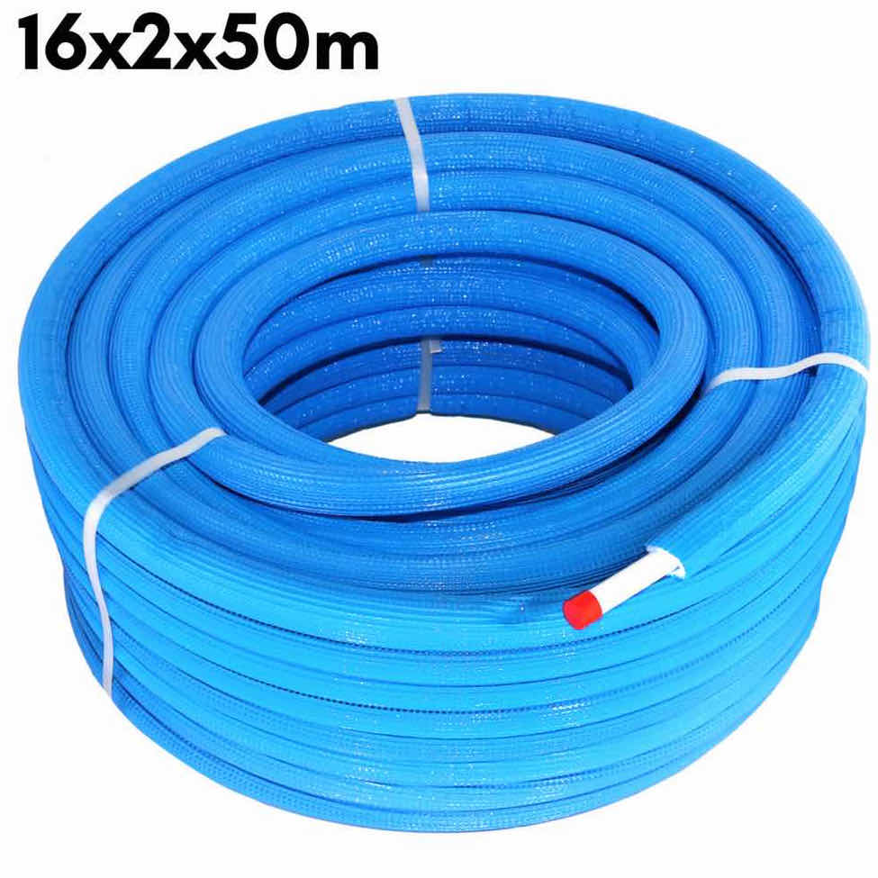 Multilayer Insulated Pipe PEX-AL-PEX Insulation Blue 16 x 2.0 × 50 m