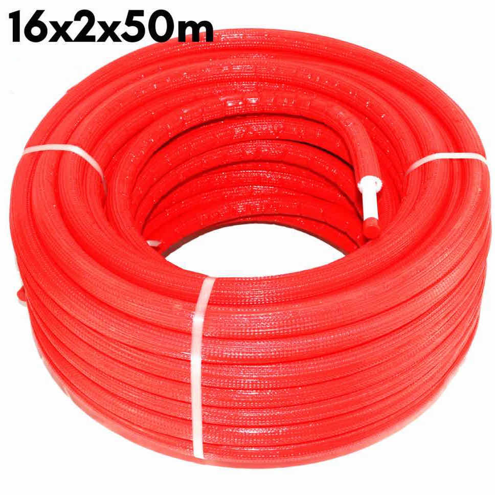 Multilayer Insulated Pipe PEX-AL-PEX Insulation Red 16 x 2.0 × 50 m