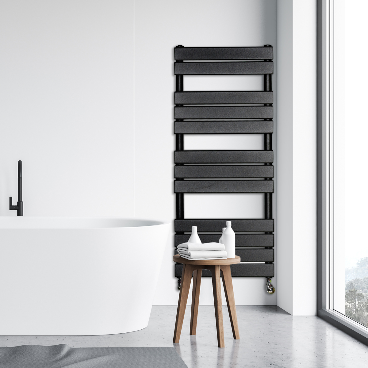 Adige Designer Towel Radiator Black Medium RAD-AF-FR01005B