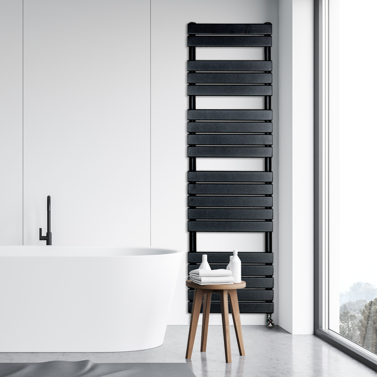 Adige Designer Towel Radiator Black Large RAD-AF-FR01006B