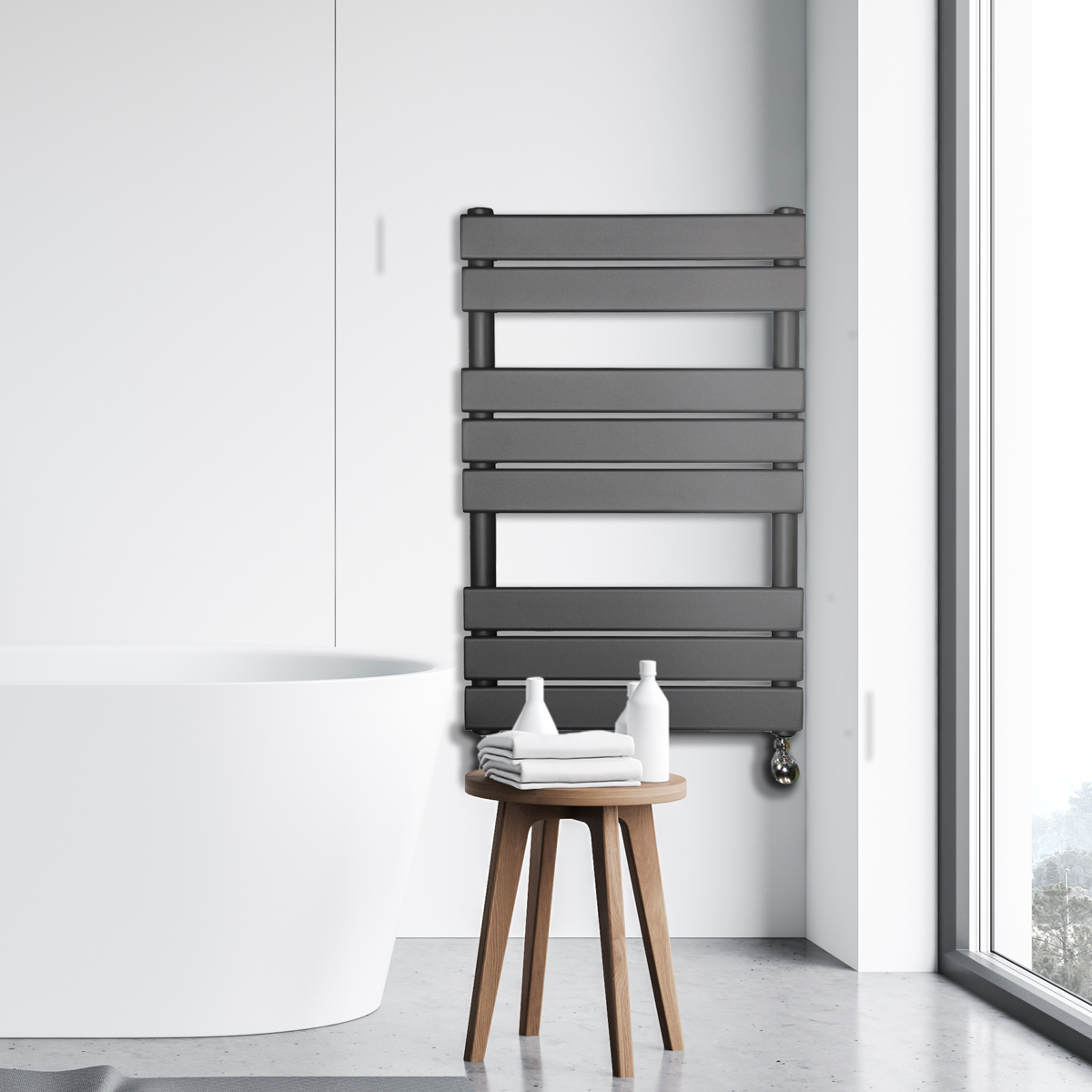 Adige Designer Towel Radiator Grey Medium RAD-AF-FR01004G