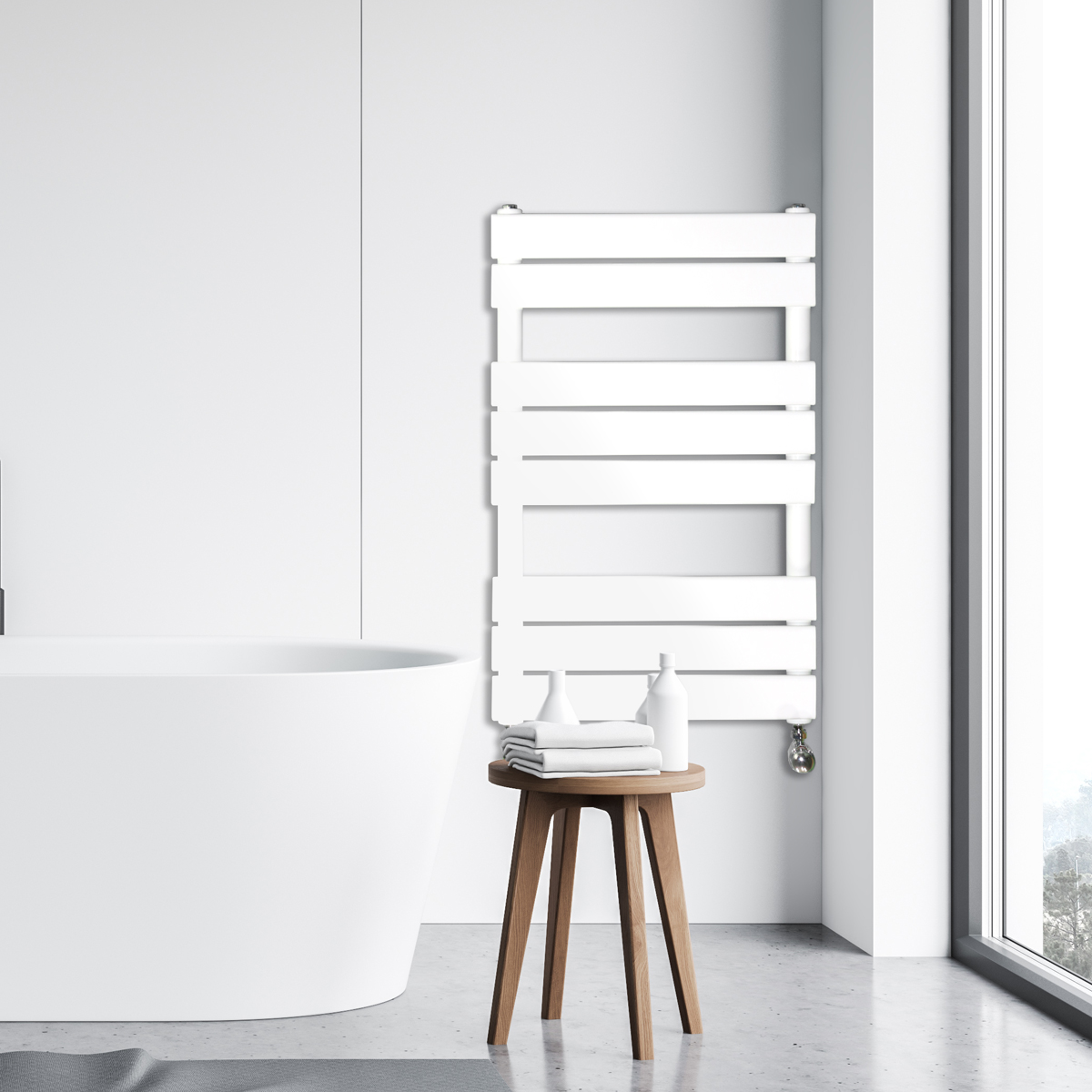 Adige Designer Towel Radiator White Small RAD-AF-FR01004W