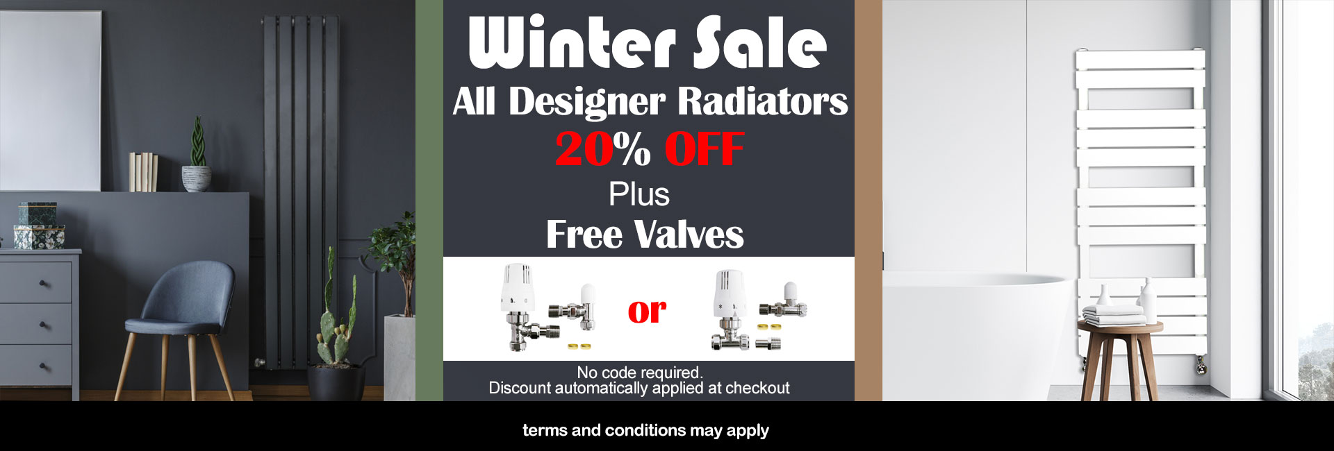 Designer Radiators 20% OFF + Free Valve(Please leave a note at checkout if you want an angled valve, by default we will send you a straight valve for free. )
