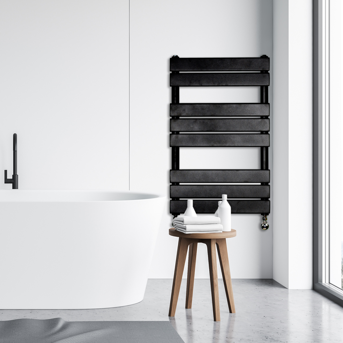 Adige Designer Towel Radiator Black, Designer Radiator towel rail | Designer Radiators Ireland