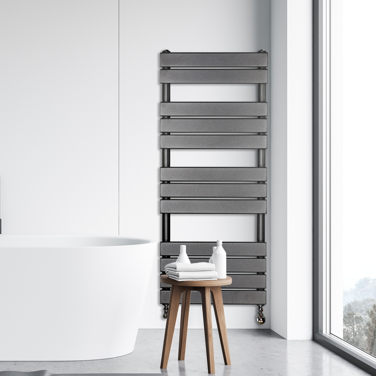 Adige Designer Towel Radiator Grey Medium RAD-AF-FR01005G