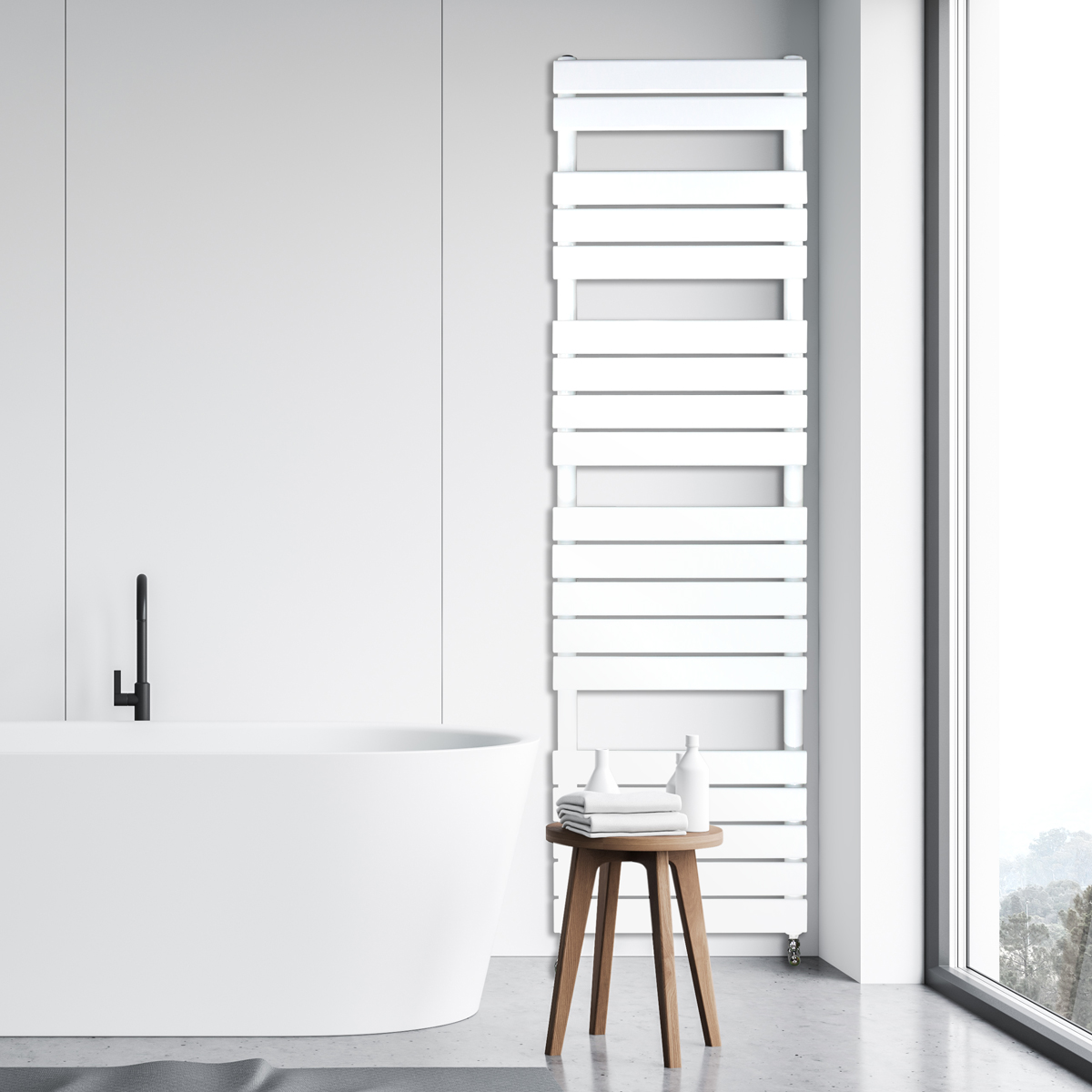 Adige Designer Towel Radiator White Large, Designer Radiators Dublin