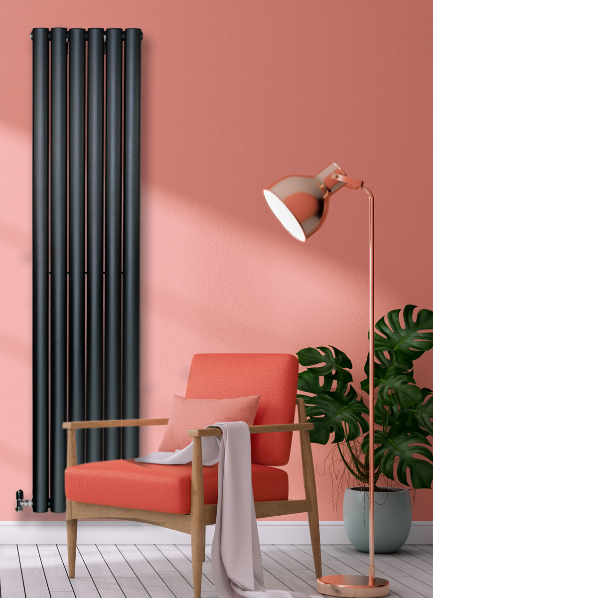 Savio Designer Radiator Black, Designer Radiators flat panel, Designer Radiators Vertical