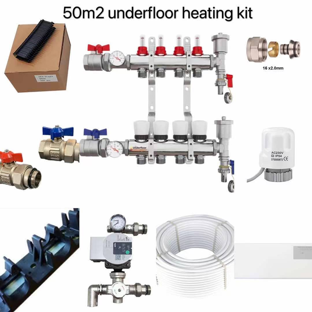 50m2 Water Underfloor Heating Kit – 4 Zone System