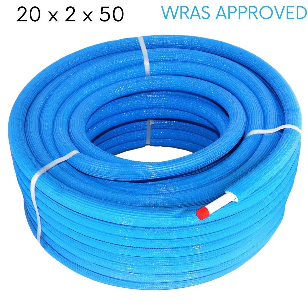 Insulated Multilayer Pipe, PEX-AL-PEX Pipe, Insulated Pipe for Outdoor Boiler Blue 20 x 2.0 × 50 m