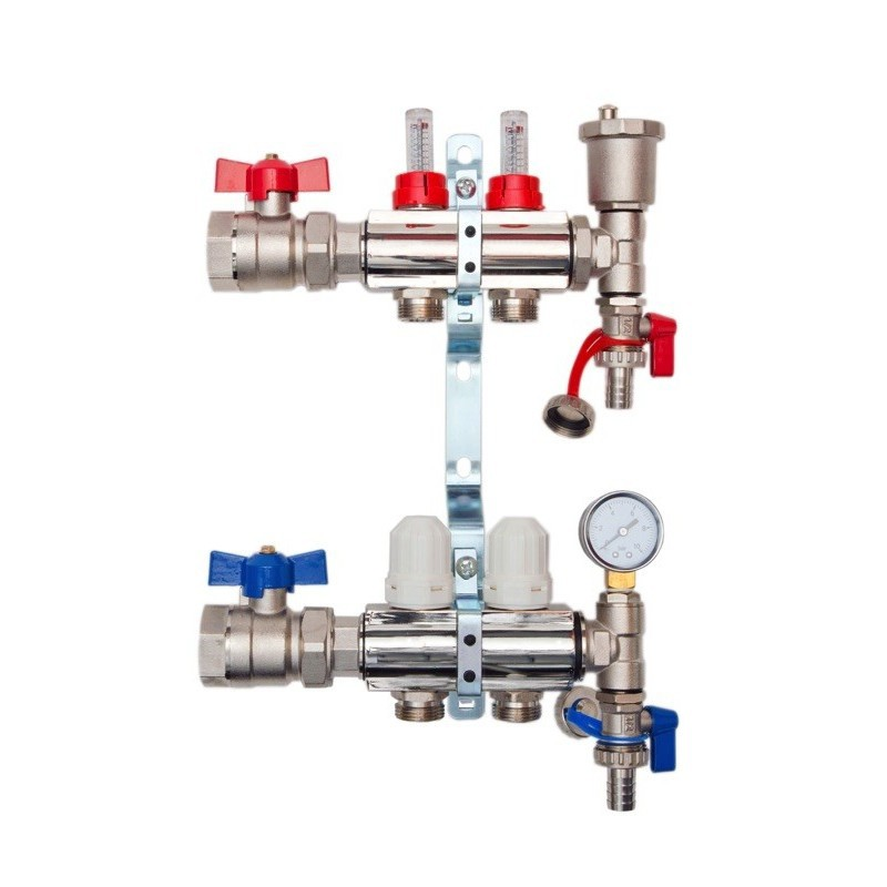 2 Port Brass Manifold With Pressure gauge and auto air vent