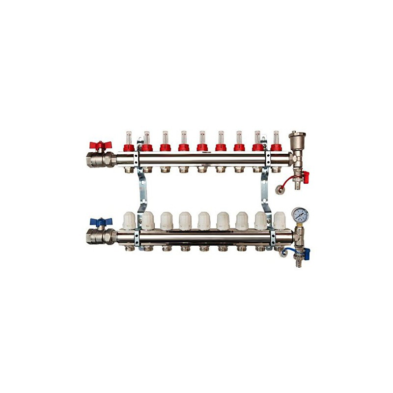 9 Port Brass Manifold With Pressure gauge and auto air vent