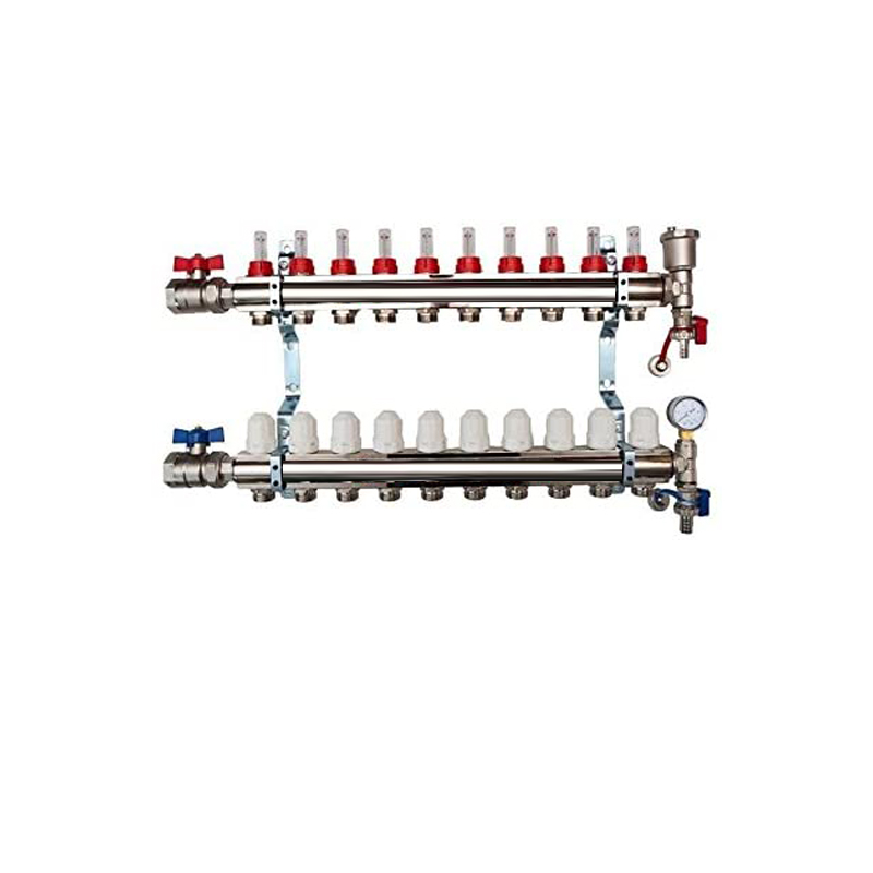 10 Port Brass Manifold With Pressure gauge and auto air vent
